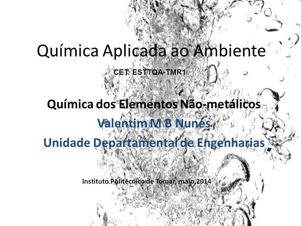 Química Aplicada ao Ambiente Química dos Elementos Não-metálicos Valentim M B Nunes Unidade Departamental de Engenharias Instituto Politécnico de Toma