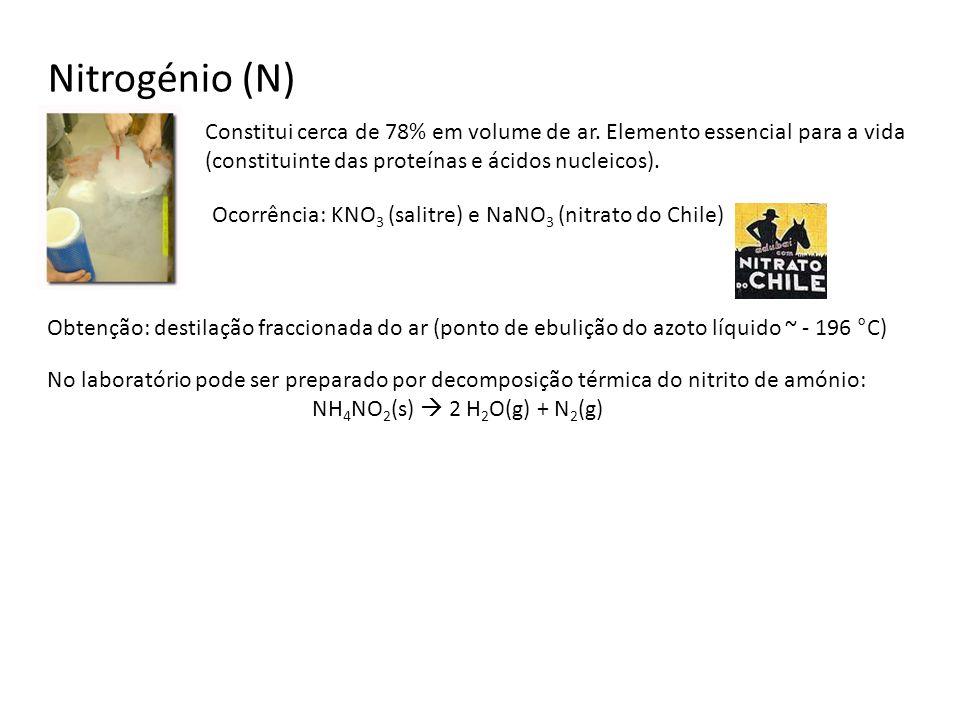 Nitrogénio (N) Constitui cerca de 78% em volume de ar. Elemento essencial para a vida (constituinte das proteínas e ácidos nucleicos). Ocorrência: KNO