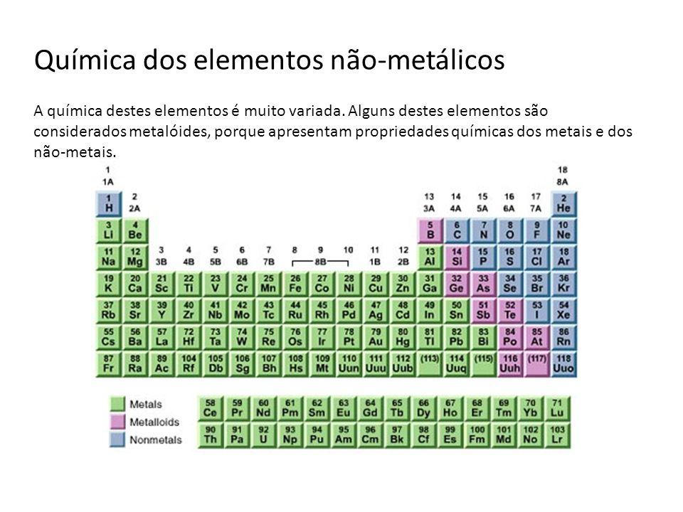 Química dos elementos não-metálicos A química destes elementos é muito variada. Alguns destes elementos são considerados metalóides, porque apresentam
