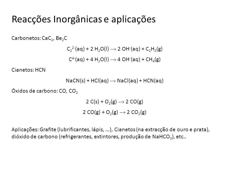 Reacções Inorgânicas e aplicações Carbonetos: CaC 2, Be 2 C C 2 2- (aq) + 2 H 2 O(l) 2 OH - (aq) + C 2 H 2 (g) C 4- (aq) + 4 H 2 O(l) 4 OH - (aq) + CH