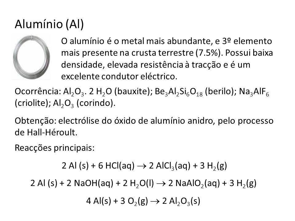 Alumínio (Al) O alumínio é o metal mais abundante, e 3º elemento mais presente na crusta terrestre (7.5%). Possui baixa densidade, elevada resistência