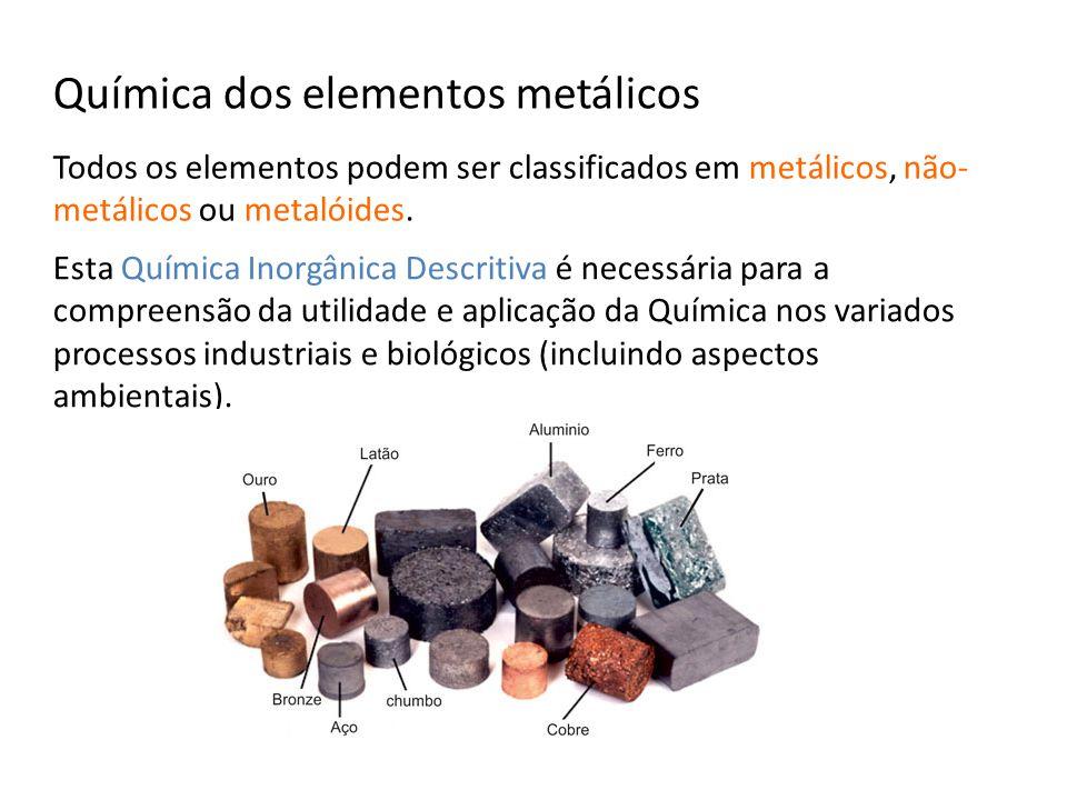 Química dos elementos metálicos Todos os elementos podem ser classificados em metálicos, não- metálicos ou metalóides. Esta Química Inorgânica Descrit
