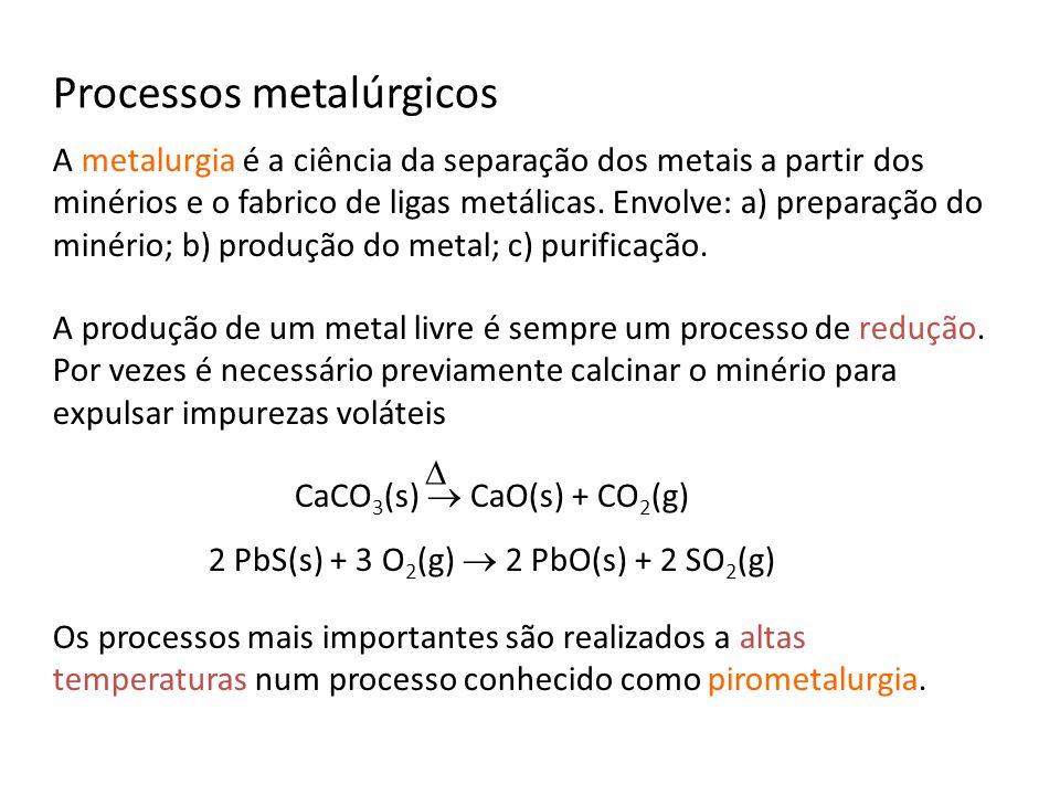Processos metalúrgicos A metalurgia é a ciência da separação dos metais a partir dos minérios e o fabrico de ligas metálicas. Envolve: a) preparação d