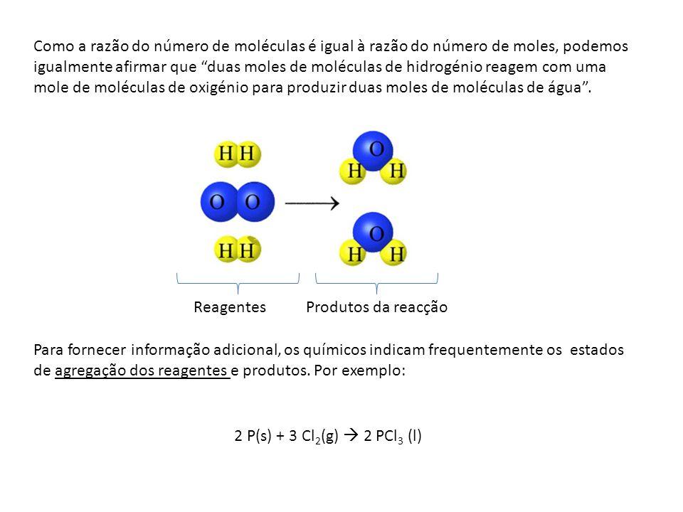 Como a razão do número de moléculas é igual à razão do número de moles, podemos igualmente afirmar que duas moles de moléculas de hidrogénio reagem co