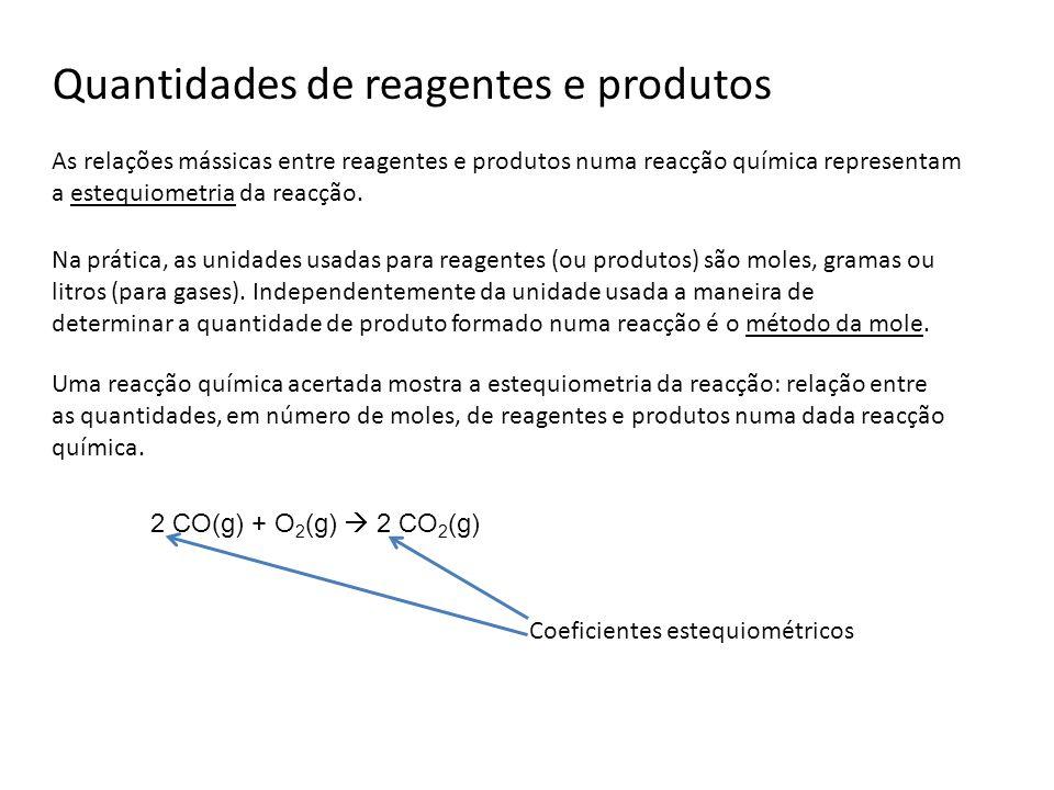 Quantidades de reagentes e produtos As relações mássicas entre reagentes e produtos numa reacção química representam a estequiometria da reacção. Uma