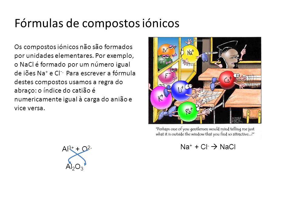Fórmulas de compostos iónicos Os compostos iónicos não são formados por unidades elementares. Por exemplo, o NaCl é formado por um número igual de iõe