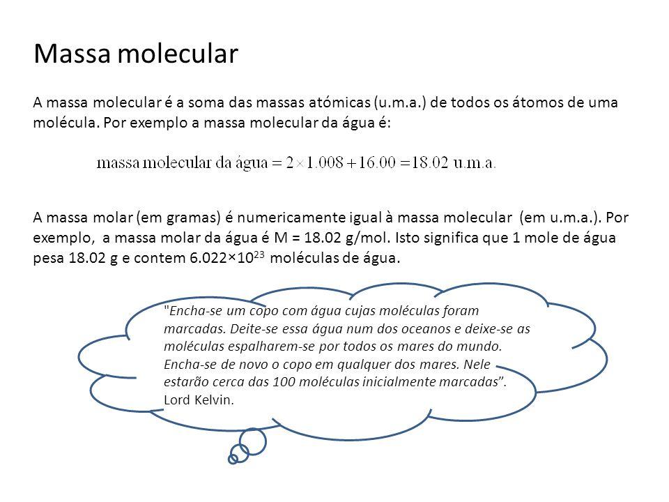 Massa molecular A massa molecular é a soma das massas atómicas (u.m.a.) de todos os átomos de uma molécula. Por exemplo a massa molecular da água é: A