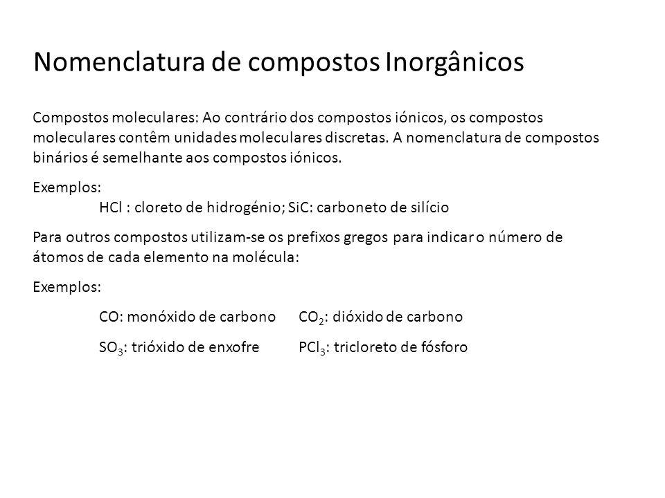 Nomenclatura de compostos Inorgânicos Compostos moleculares: Ao contrário dos compostos iónicos, os compostos moleculares contêm unidades moleculares