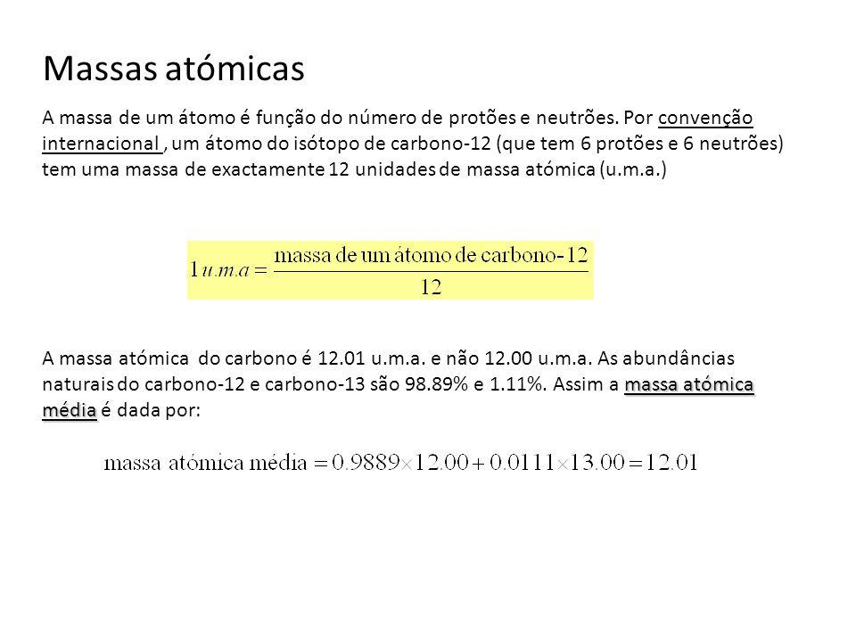 Massas atómicas A massa de um átomo é função do número de protões e neutrões. Por convenção internacional, um átomo do isótopo de carbono-12 (que tem