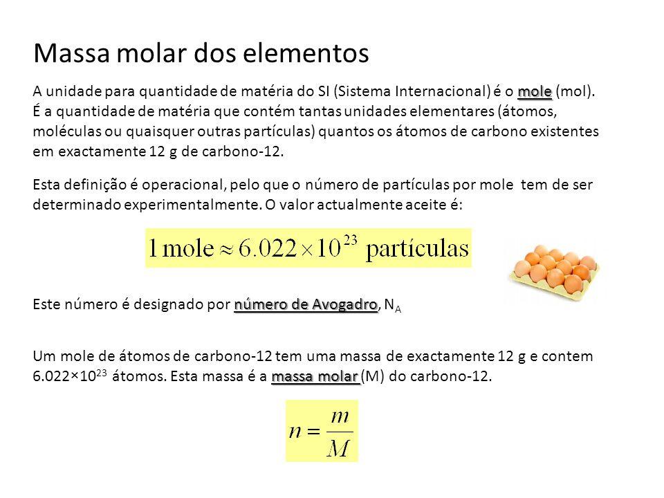 Massa molar dos elementos mole A unidade para quantidade de matéria do SI (Sistema Internacional) é o mole (mol). É a quantidade de matéria que contém