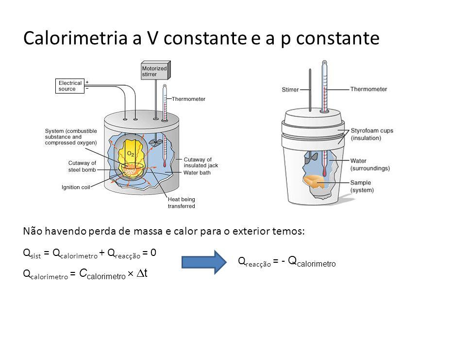 Calorimetria a V constante e a p constante Não havendo perda de massa e calor para o exterior temos: Q sist = Q calorimetro + Q reacção = 0 Q calorime