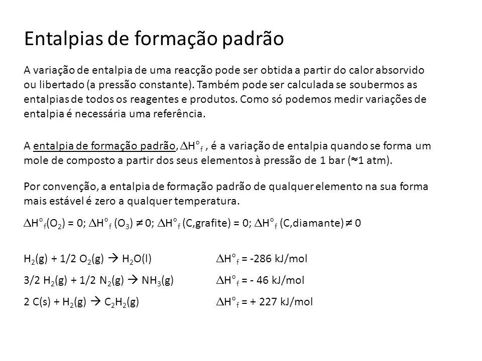 Entalpias de formação padrão A entalpia de formação padrão, H° f, é a variação de entalpia quando se forma um mole de composto a partir dos seus eleme