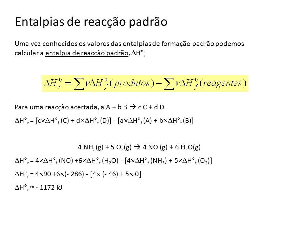 Entalpias de reacção padrão Uma vez conhecidos os valores das entalpias de formação padrão podemos calcular a entalpia de reacção padrão, H° r Para um