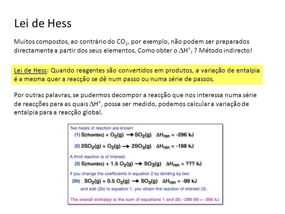 Lei de Hess Muitos compostos, ao contrário do CO 2, por exemplo, não podem ser preparados directamente a partir dos seus elementos. Como obter o H° f