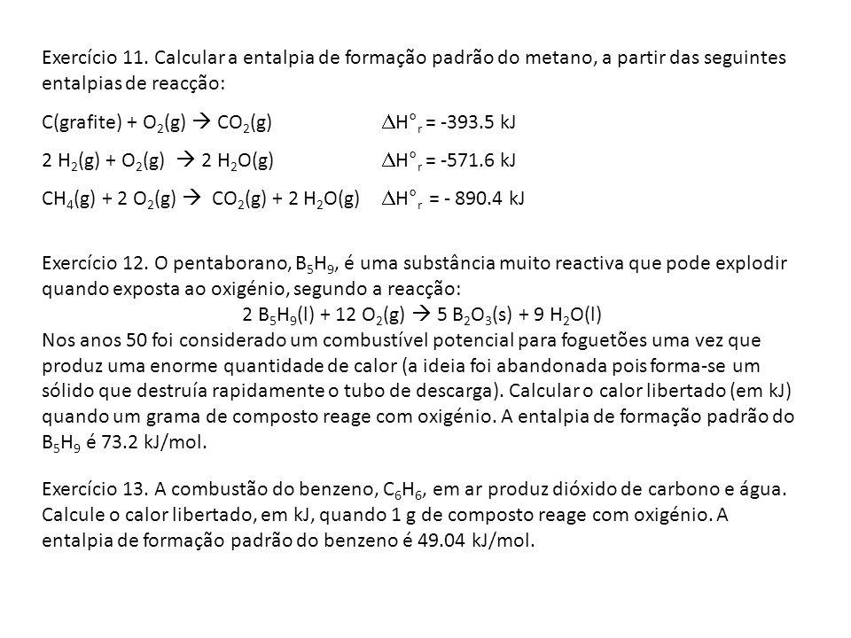 Exercício 11. Calcular a entalpia de formação padrão do metano, a partir das seguintes entalpias de reacção: C(grafite) + O 2 (g) CO 2 (g) H° r = -393