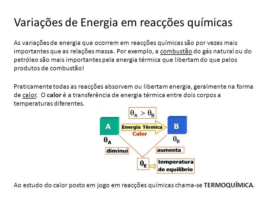 Variações de Energia em reacções químicas As variações de energia que ocorrem em reacções químicas são por vezes mais importantes que as relações mass
