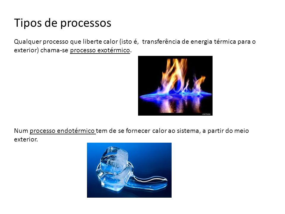 Tipos de processos Qualquer processo que liberte calor (isto é, transferência de energia térmica para o exterior) chama-se processo exotérmico. Num pr