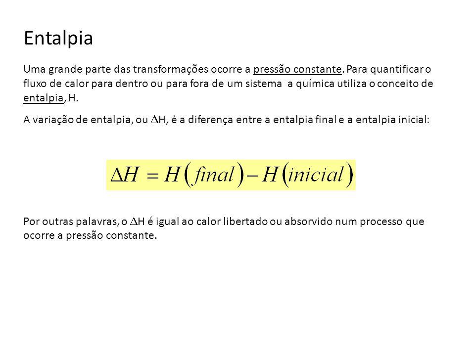 Entalpia de reacções A entalpia da reacção pode ser positiva ou negativa.