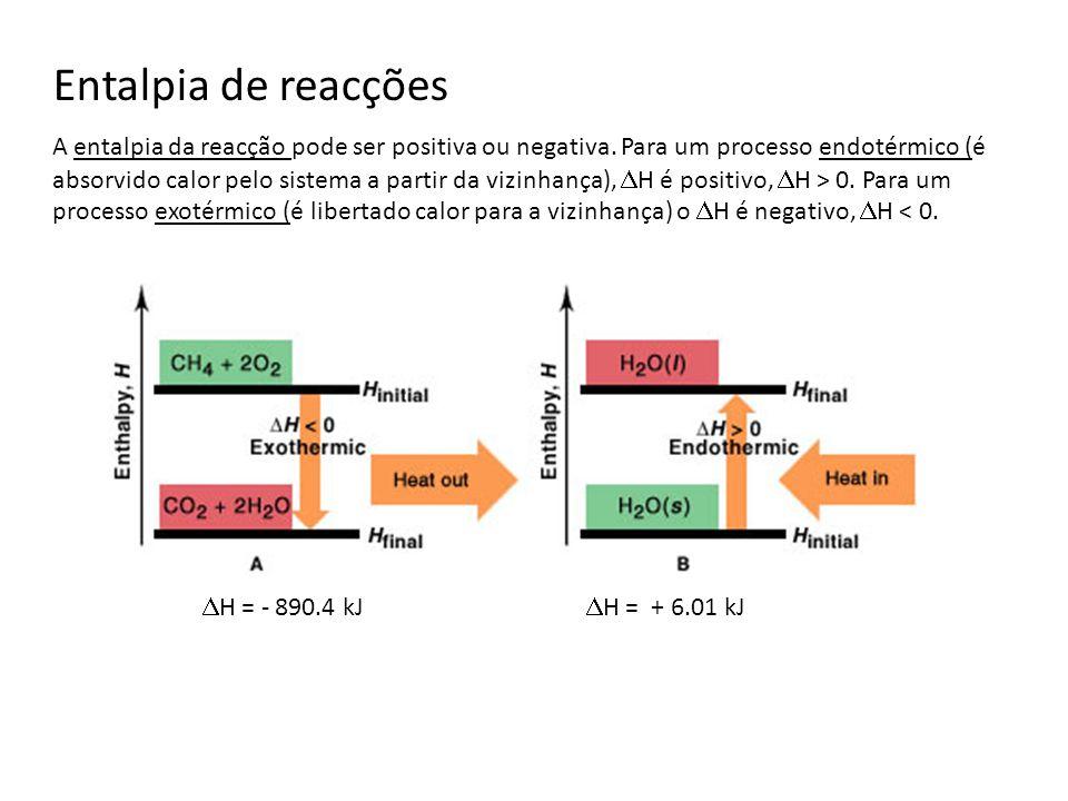 Exemplo: combustão do metano CH 4 (g) + 2 O 2 (g) CO 2 (g) + 2 H 2 O(l) H = - 890.4 kJ Sabemos por experiência que a combustão do metano (principal constituinte do gás natural) fornece calor ao meio exterior, tratando-se portanto de um processo exotérmico cujo H deve ser negativo: As equações que mostram simultaneamente as relações de massa e variação de entalpia designam-se por equações termoquímicas.
