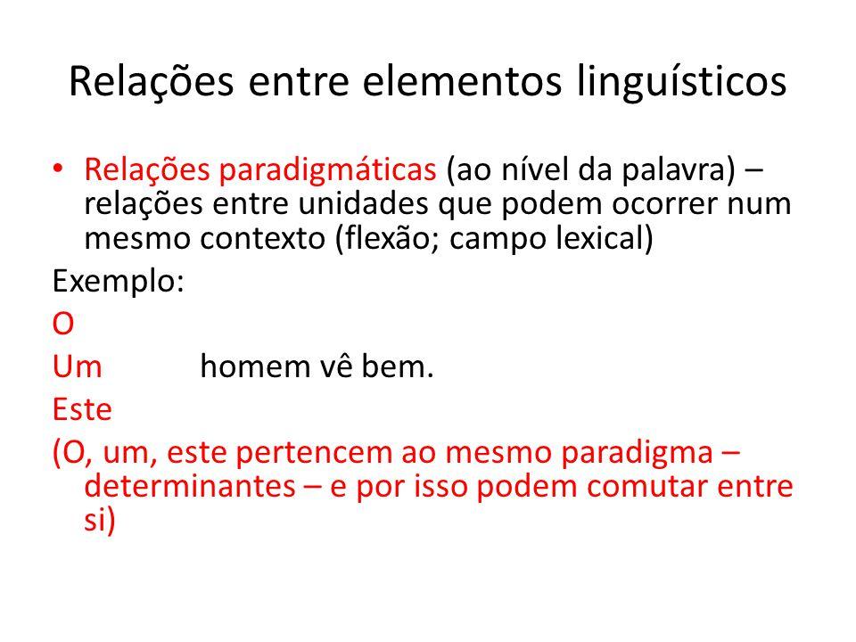 Relações entre elementos linguísticos Relações sintagmáticas (ao nível da frase) – combinam-se linearmente os elementos em sintagmas Exemplo: O João comprou um carro.