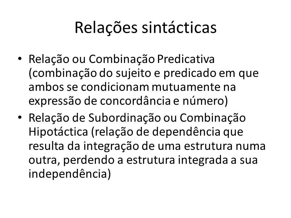 Relações sintácticas Relação de Coordenação ou Combinação Paratáctica ( realiza-se entre palavras, grupos de palavras e frases com o mesmo valor sintáctico)