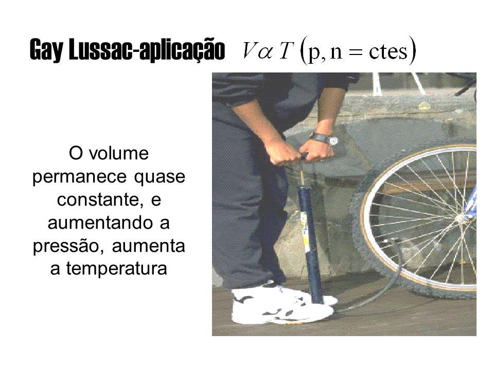 Gay Lussac-aplicação O volume permanece quase constante, e aumentando a pressão, aumenta a temperatura