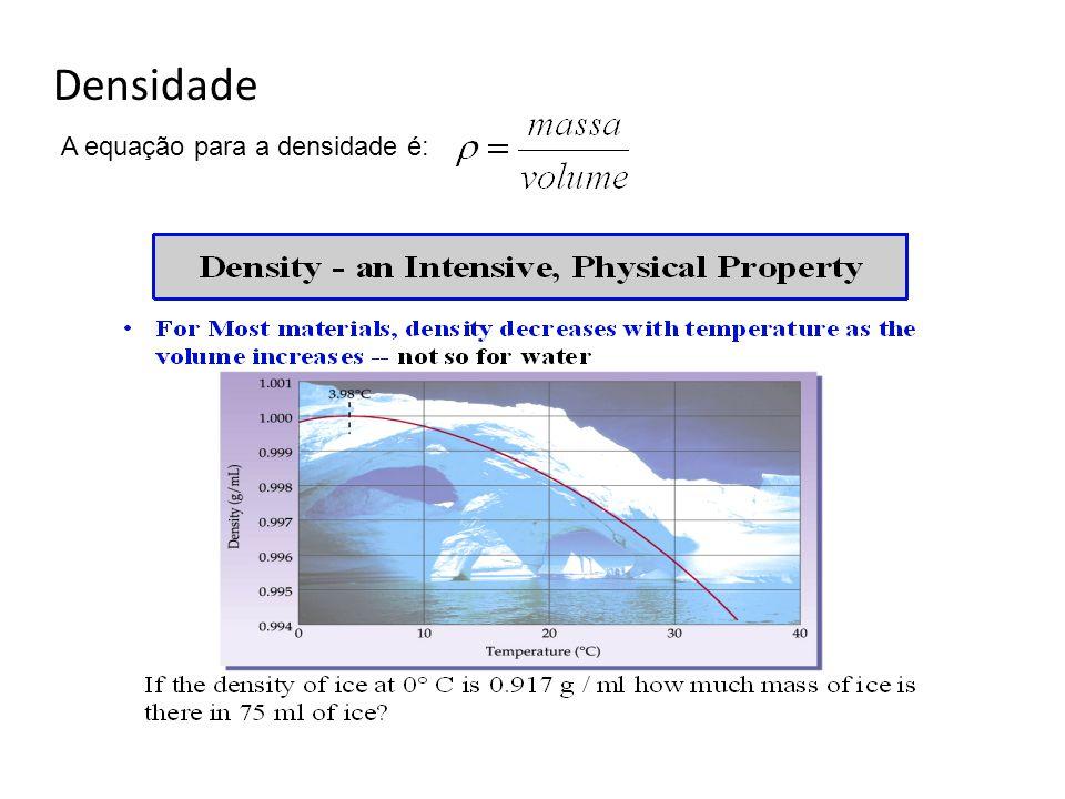 Densidade A equação para a densidade é: