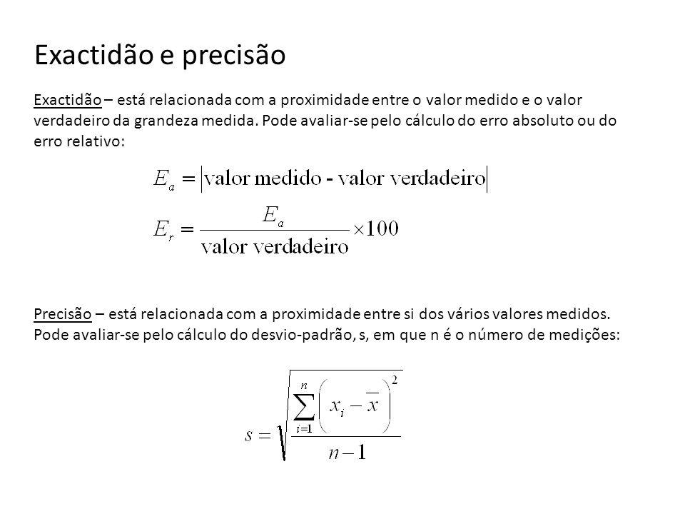 Exactidão e precisão Exactidão – está relacionada com a proximidade entre o valor medido e o valor verdadeiro da grandeza medida.