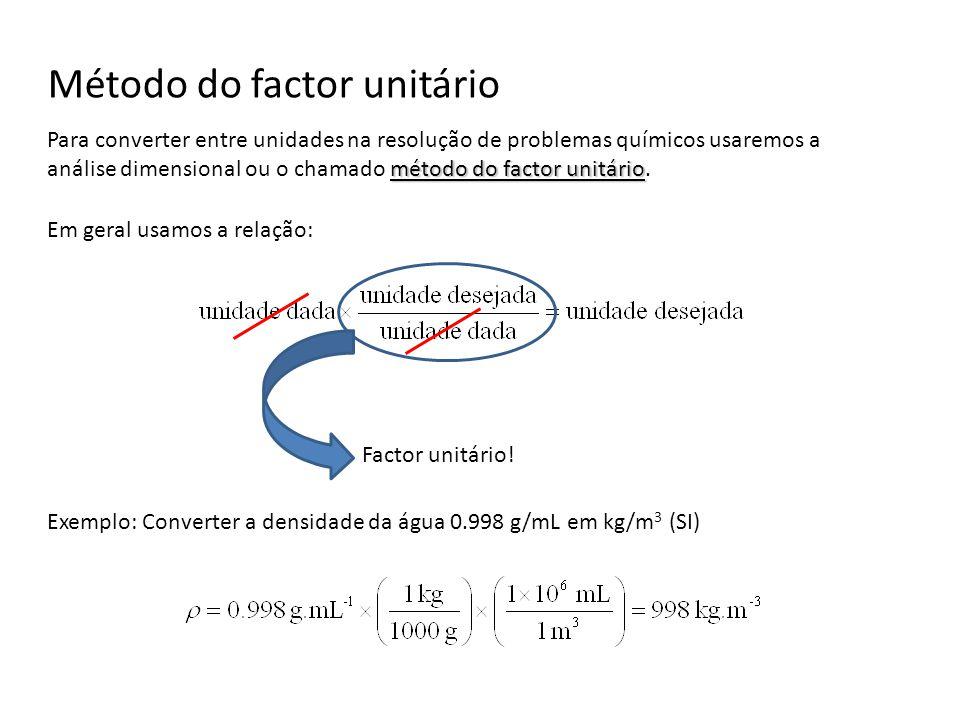 Método do factor unitário método do factor unitário Para converter entre unidades na resolução de problemas químicos usaremos a análise dimensional ou o chamado método do factor unitário.