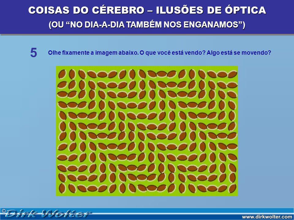 COISAS DO CÉREBRO – ILUSÕES DE ÓPTICA (OU NO DIA-A-DIA TAMBÉM NOS ENGANAMOS) COISAS DO CÉREBRO – ILUSÕES DE ÓPTICA (OU NO DIA-A-DIA TAMBÉM NOS ENGANAMOS) 5 Olhe fixamente a imagem abaixo.