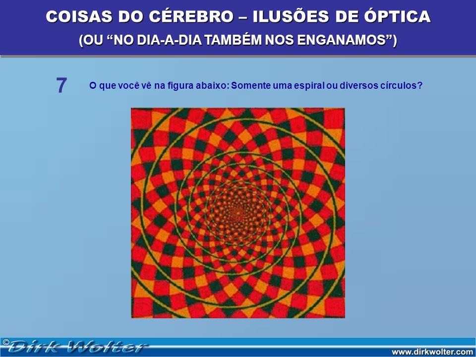 O que você vê na figura abaixo: Somente uma espiral ou diversos círculos? 7 COISAS DO CÉREBRO – ILUSÕES DE ÓPTICA (OU NO DIA-A-DIA TAMBÉM NOS ENGANAMO