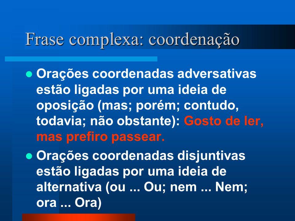 Frase complexa: coordenação Orações coordenadas adversativas estão ligadas por uma ideia de oposição (mas; porém; contudo, todavia; não obstante): Gos