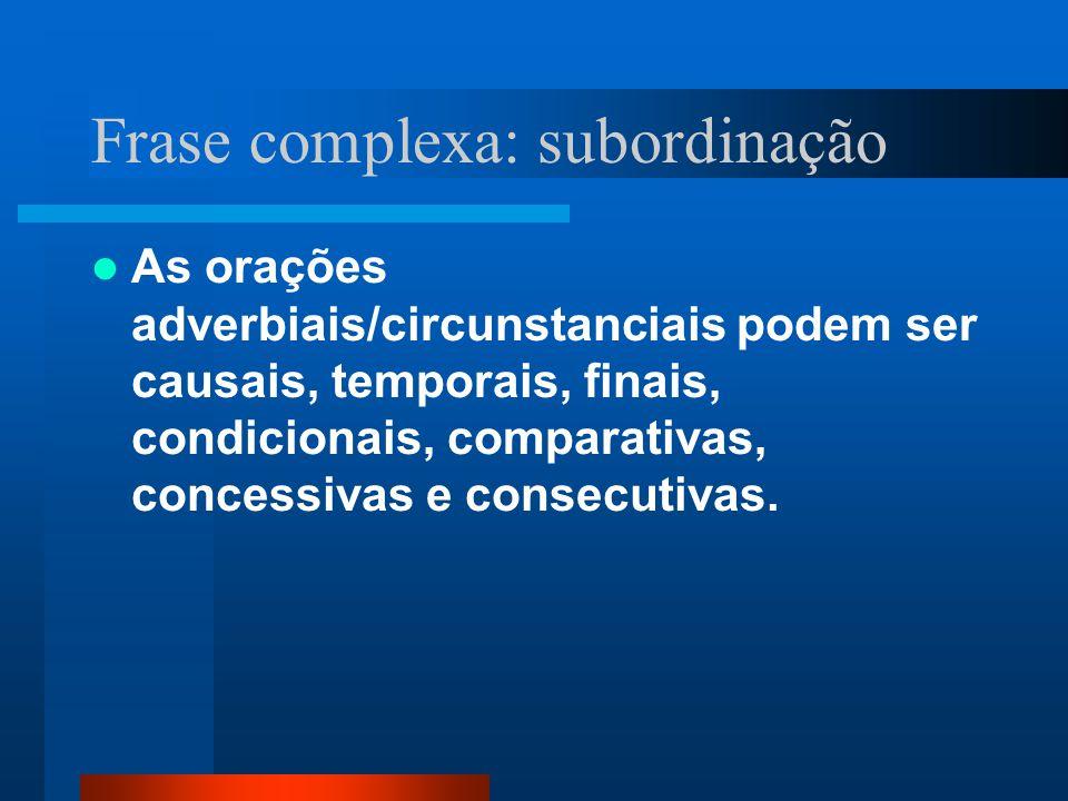 Frase complexa: subordinação As orações adverbiais/circunstanciais podem ser causais, temporais, finais, condicionais, comparativas, concessivas e con