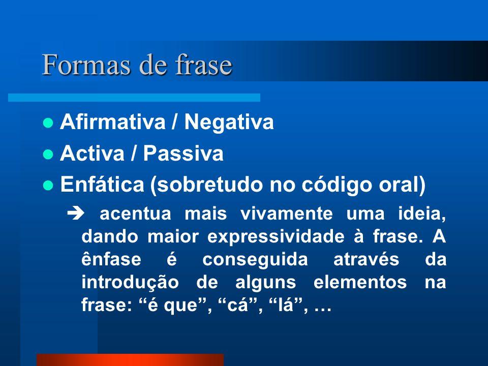 Tipos e Formas de frase Uma frase pertence necessariamente a um dos quatro tipos, o qual pode combinar-se com uma ou mais formas.