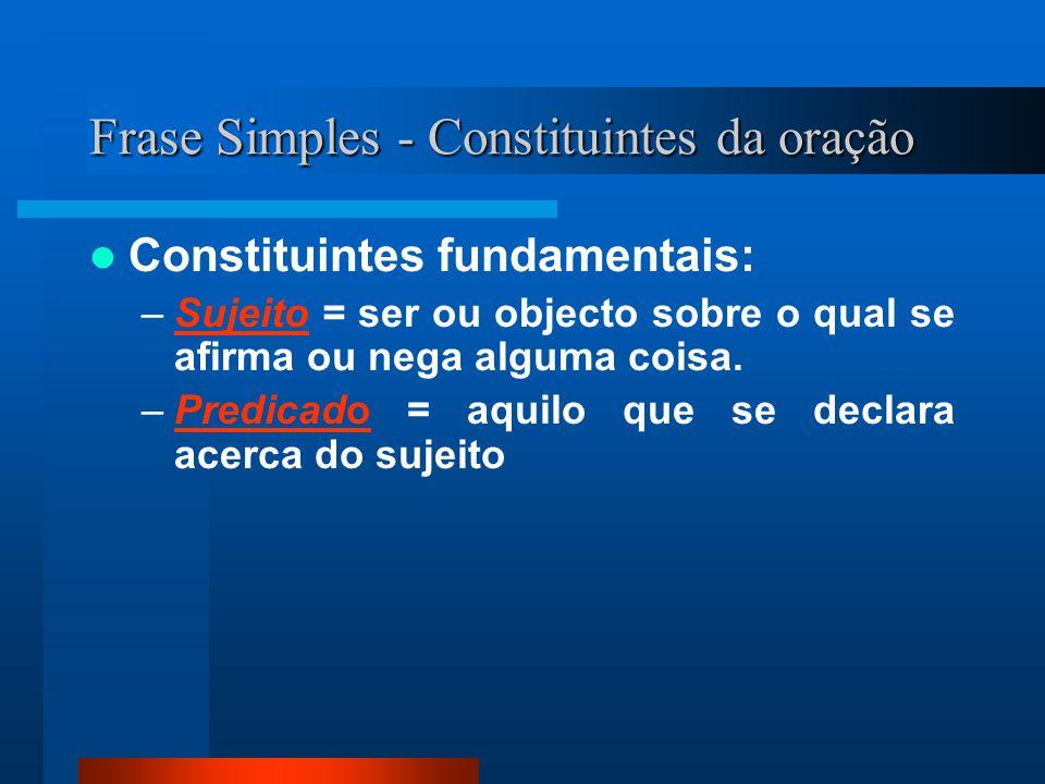 Frase Simples - Constituintes da oração Constituintes fundamentais: –Sujeito = ser ou objecto sobre o qual se afirma ou nega alguma coisa.Sujeito –Pre