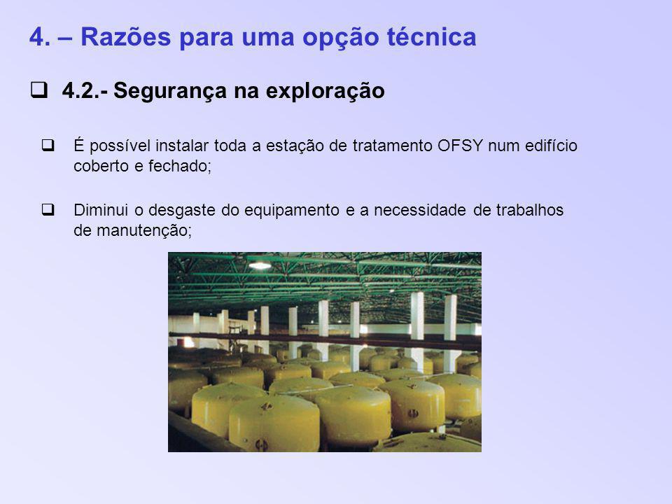 4. – Razões para uma opção técnica 4.2.- Segurança na exploração É possível instalar toda a estação de tratamento OFSY num edifício coberto e fechado;