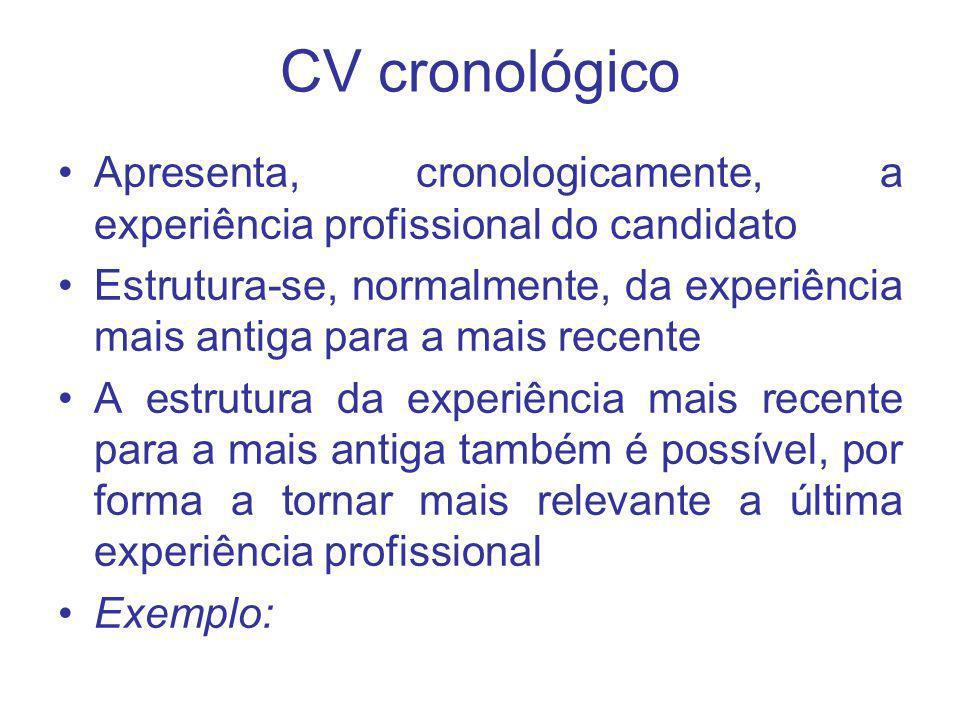 CV cronológico Apresenta, cronologicamente, a experiência profissional do candidato Estrutura-se, normalmente, da experiência mais antiga para a mais