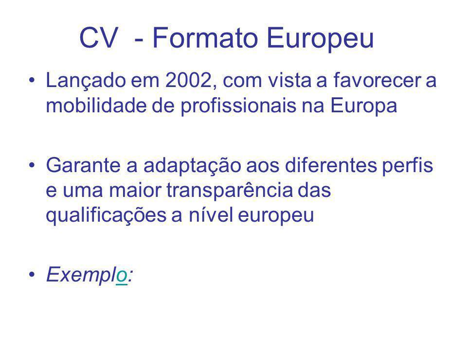 Lançado em 2002, com vista a favorecer a mobilidade de profissionais na Europa Garante a adaptação aos diferentes perfis e uma maior transparência das