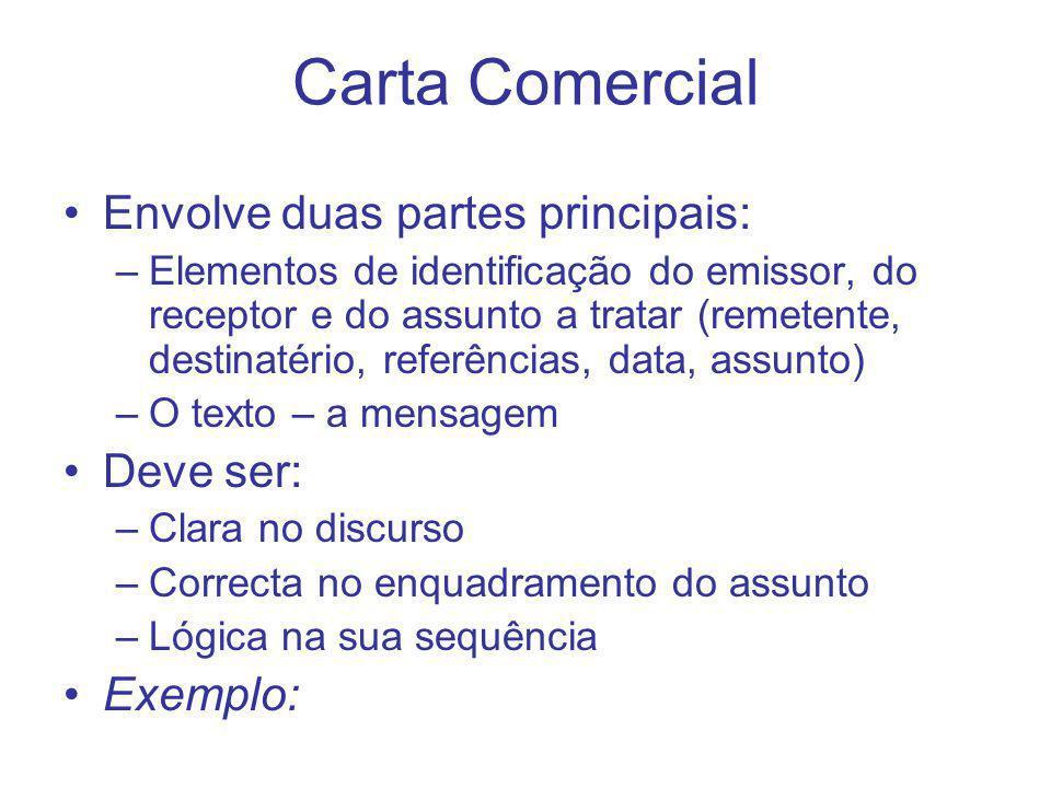Carta Comercial Envolve duas partes principais: –Elementos de identificação do emissor, do receptor e do assunto a tratar (remetente, destinatério, re
