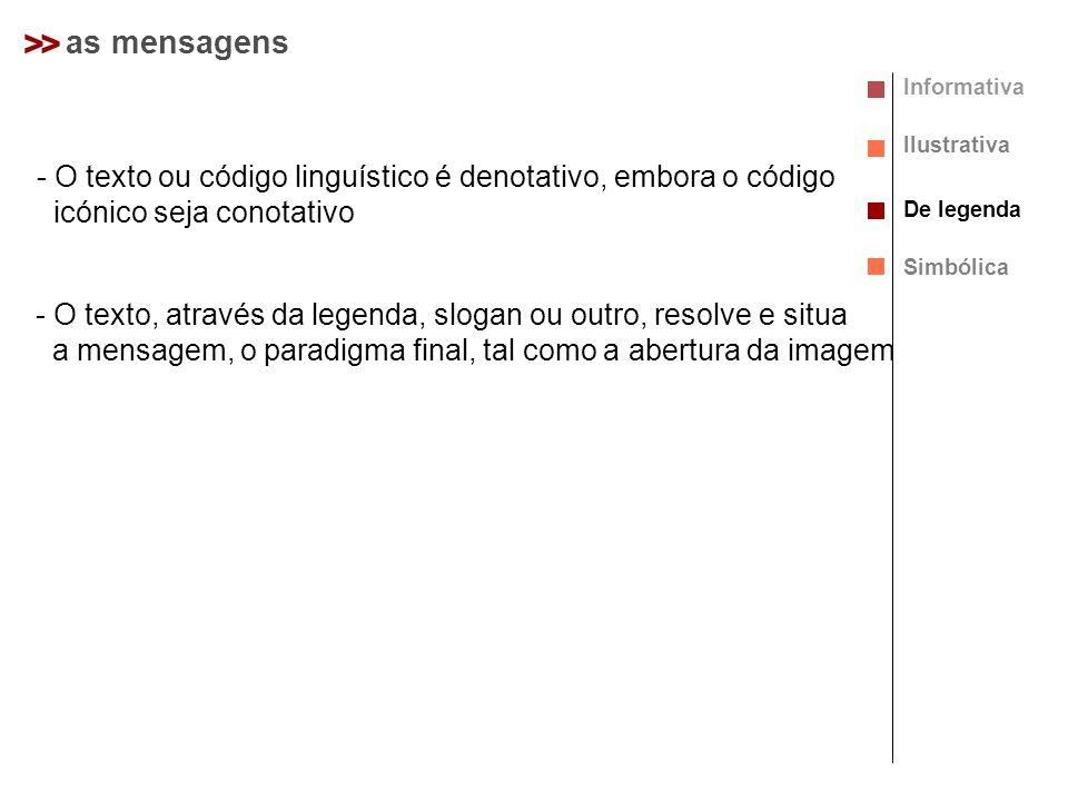 >> as mensagens Informativa Ilustrativa De legenda Simbólica - O texto ou código linguístico é denotativo, embora o código icónico seja conotativo - O