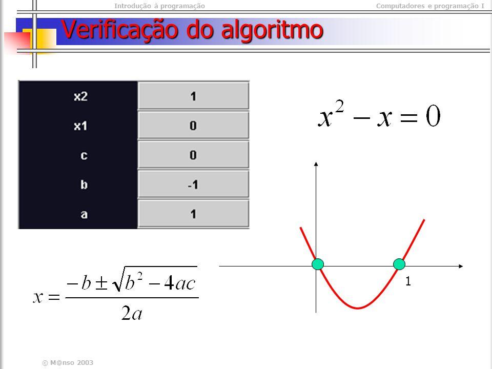 Introdução à programaçãoComputadores e programação I © M@nso 2003 Verificação do algoritmo 1