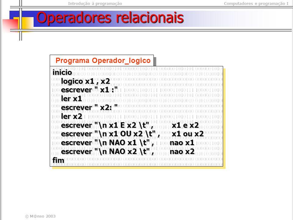 Introdução à programaçãoComputadores e programação I © M@nso 2003 Operadores relacionais Programa Operador_logico inicio logico x1, x2 logico x1, x2 escrever x1 : escrever x1 : ler x1 ler x1 escrever x2: escrever x2: ler x2 ler x2 escrever \n x1 E x2 \t , x1 e x2 escrever \n x1 E x2 \t , x1 e x2 escrever \n x1 OU x2 \t , x1 ou x2 escrever \n x1 OU x2 \t , x1 ou x2 escrever \n NAO x1 \t , nao x1 escrever \n NAO x1 \t , nao x1 escrever \n NAO x2 \t , nao x2 escrever \n NAO x2 \t , nao x2fiminicio logico x1, x2 logico x1, x2 escrever x1 : escrever x1 : ler x1 ler x1 escrever x2: escrever x2: ler x2 ler x2 escrever \n x1 E x2 \t , x1 e x2 escrever \n x1 E x2 \t , x1 e x2 escrever \n x1 OU x2 \t , x1 ou x2 escrever \n x1 OU x2 \t , x1 ou x2 escrever \n NAO x1 \t , nao x1 escrever \n NAO x1 \t , nao x1 escrever \n NAO x2 \t , nao x2 escrever \n NAO x2 \t , nao x2fim