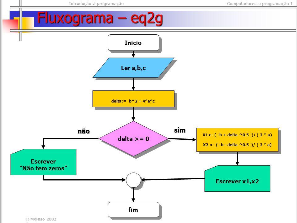 Introdução à programaçãoComputadores e programação I © M@nso 2003 Fluxograma – eq2g Ler a,b,c delta:= b^2 – 4*a*c Inicio fim Escrever x1,x2 delta >= 0 X1<- ( -b + delta ^0.5 )/ ( 2 * a) X2 <- ( -b - delta ^0.5 )/ ( 2 * a) X1<- ( -b + delta ^0.5 )/ ( 2 * a) X2 <- ( -b - delta ^0.5 )/ ( 2 * a) sim não Escrever Não tem zeros