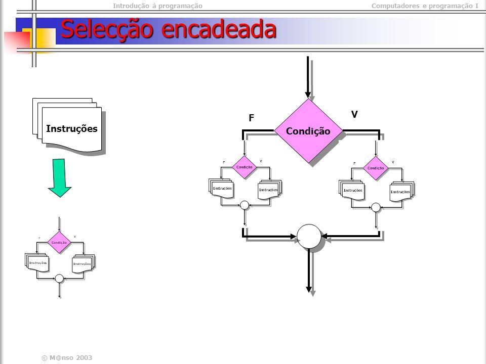 Introdução à programaçãoComputadores e programação I © M@nso 2003 Selecção encadeada Condição Instruções V F