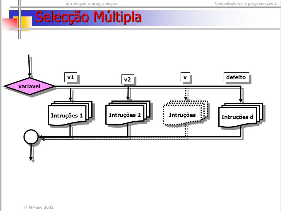 Introdução à programaçãoComputadores e programação I © M@nso 2003 Selecção Múltipla variavel Intruções 1 Intruções 2 Intruções d v1 v2 Intruções v v defeito