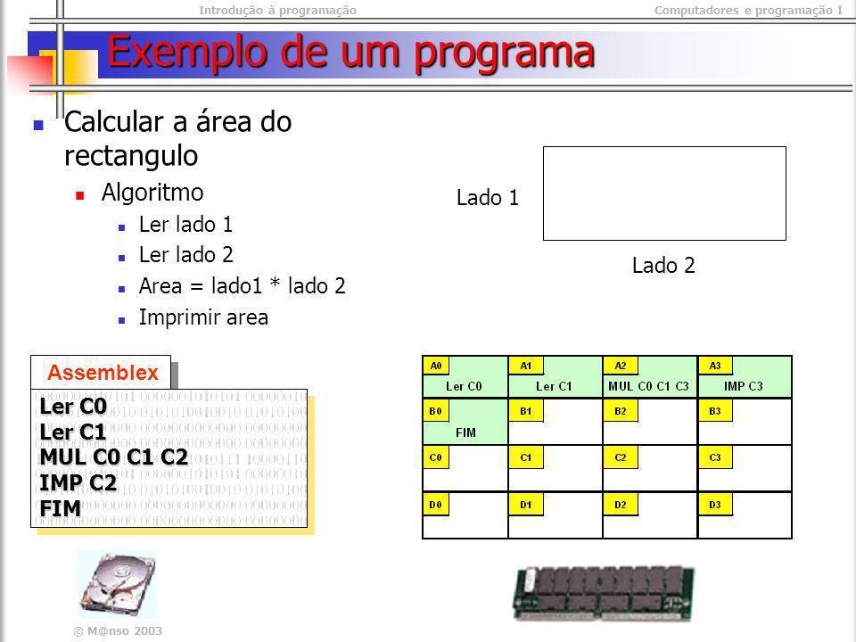 Introdução à programaçãoComputadores e programação I © M@nso 2003 Exemplo de um programa Calcular a área do rectangulo Algoritmo Ler lado 1 Ler lado 2