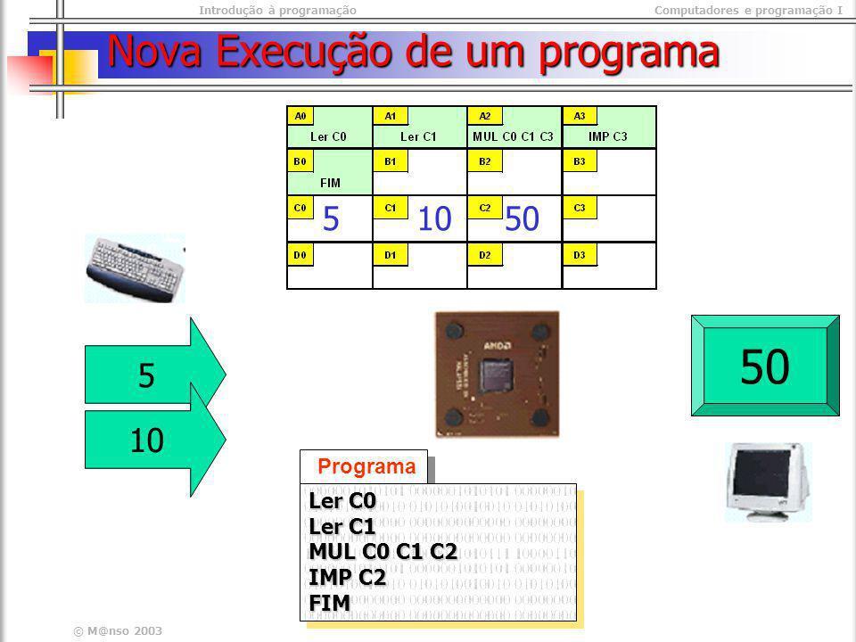 Introdução à programaçãoComputadores e programação I © M@nso 2003 Nova Execução de um programa Programa Ler C0 Ler C1 MUL C0 C1 C2 IMP C2 FIM Ler C0 L