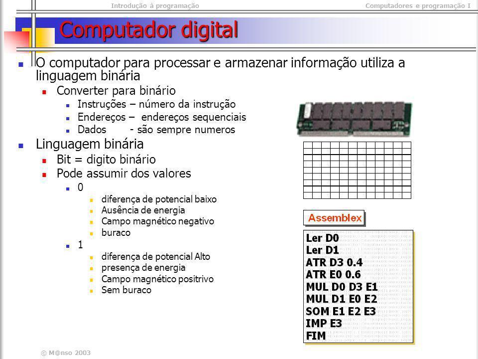 Introdução à programaçãoComputadores e programação I © M@nso 2003 Computador digital O computador para processar e armazenar informação utiliza a ling