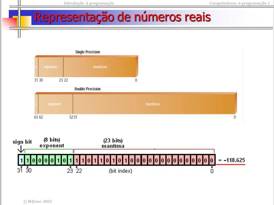 Introdução à programaçãoComputadores e programação I © M@nso 2003 Representação de números reais