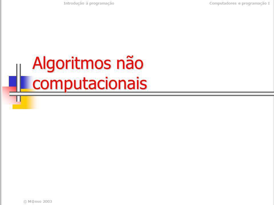 Introdução à programaçãoComputadores e programação I © M@nso 2003 Nova Execução de um programa Programa Ler C0 Ler C1 MUL C0 C1 C2 IMP C2 FIM Ler C0 Ler C1 MUL C0 C1 C2 IMP C2 FIM 50 5 10 5 50